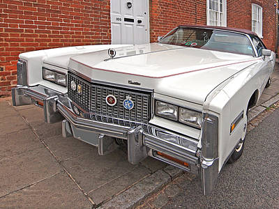 Big Cadillac - Small Sidewalk Art Print by Gill Billington
