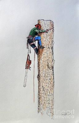 Woodsmen Painting - Big Chainsaw Needed For A Big Tree Husqvarna Stihl by Gordon Lavender