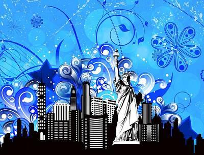 Digital Art - Big City Blues 4 Liberty by Stanley Mathis
