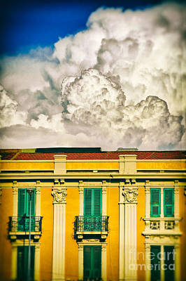 Print featuring the photograph Big Cloud Over City Building by Silvia Ganora