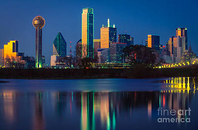 Blue Buildings Photograph - Big D Reflection by Inge Johnsson