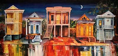 New Orleans Shotgun Houses Painting - Big Easy Night by Diane Millsap