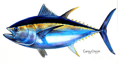 Animals Paintings - Big Eye Tuna by Carey Chen