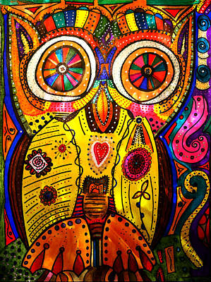 Drawing - Big Eyed Owl by Marie Jamieson
