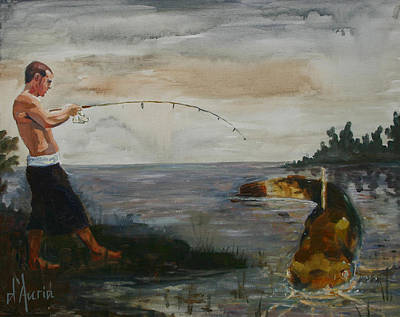Catfish Painting - Big Fish by Tom Dauria