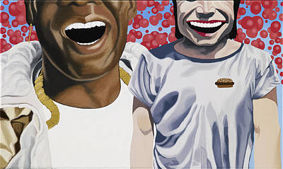 Hamburger Painting - Big Freedia And Yue Minjun by Marcella Lassen