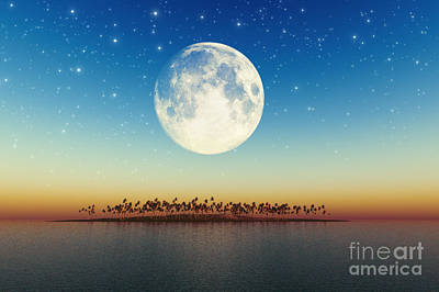 Big Full Moon Behind Island Art Print by Aleksey Tugolukov