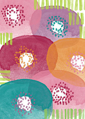 Big Garden Blooms- Abstract Florwer Art Art Print by Linda Woods
