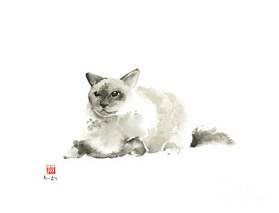 Persian Cat Painting - Big Grey Gray Fat Persian Cat Long Hair Fur Cats Pictures Watercolor Painting by Johana Szmerdt