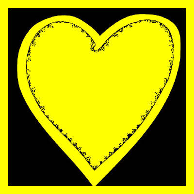 Digital Art - Big Heart 1 Yellow by Marianne Campolongo