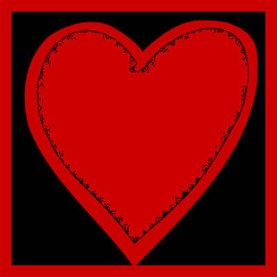 Digital Art - Big Heart 2 Red by Marianne Campolongo