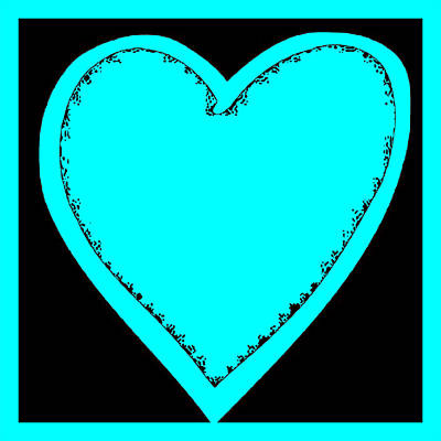 Digital Art - Big Heart 3 Turquoise by Marianne Campolongo