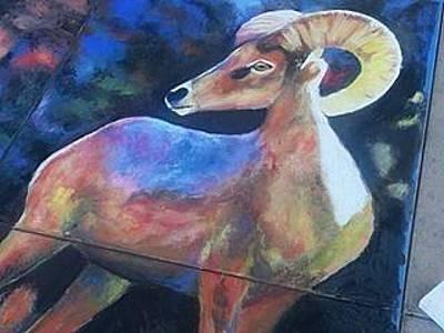 Pastel - Big Horn Closeup by Marisa Salazar