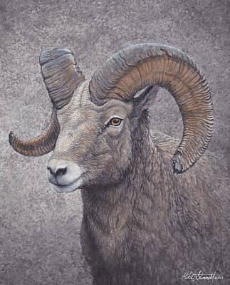 Painting - Big Horn Ram by Mike Stinnett