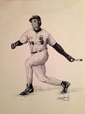 Chicago Baseball Drawing - Big Hurt by Michael  Parrella