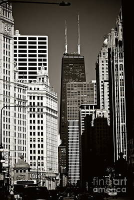 Frank J Casella Royalty-Free and Rights-Managed Images - Big John Chicago - Sepia  by Frank J Casella