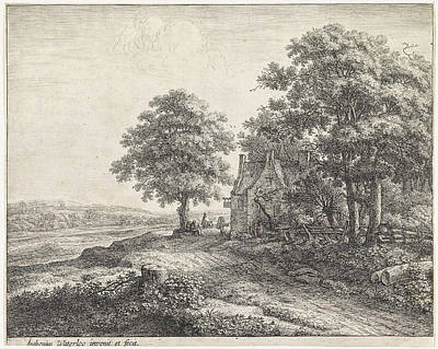 Lime Drawing - Big Lime Tree Before An Inn, Anthonie Waterloo by Artokoloro