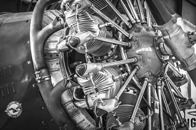 Big Motor Vintage Aircraft Bw Print by Rich Franco
