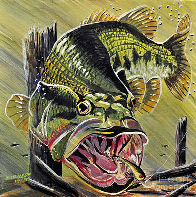 Largemouth Painting - Big Mouth by Doug Heavlow