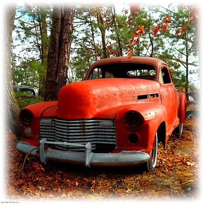 Digital Art - Big Orange Old Car Nose by K Scott Teeters