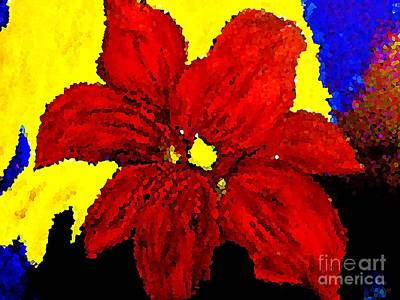 Painting - Big Red Blossom Abstract 1 by Saundra Myles