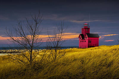 Photograph - Big Red Lighthouse By Holland Michigan At Sunset by Randall Nyhof