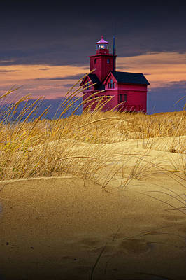 Photograph - Big Red Lighthouse By Holland Michigan Viewed From The Sand Dune by Randall Nyhof