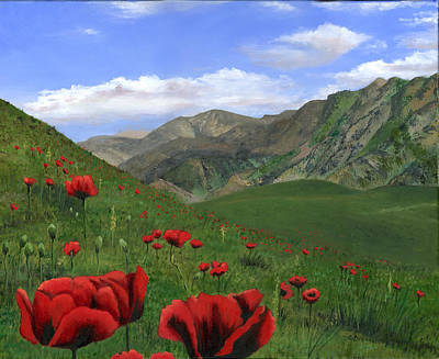 Sicily Painting - Big Red Mountain Poppies by Cecilia Brendel