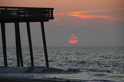 Pier Digital Art - Big Red Sun At The 14th Street Pier by Bill Cannon