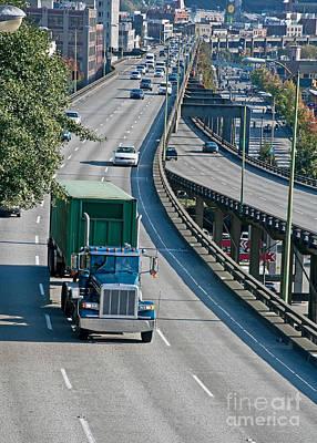 Photograph - Big Rig Truck On City Freeway by Valerie Garner