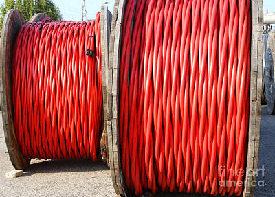 Spot Of Tea - Big Rolls Of High-voltage Power Cable In The Power Station by Fed Cand