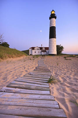 Lit Photograph - Big Sable Point Lighthouse by Adam Romanowicz