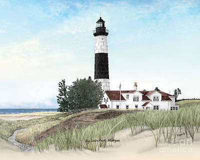 Beach Landscape Drawing - Big Sable Point Lighthouse Titled by Darren Kopecky