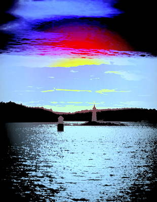 A Dark Night With A Big Sky But Small Lighthouses Art Print