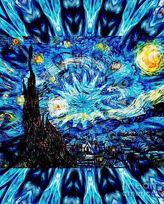 Digital Art - Big Star Starry Night by Annie Zeno