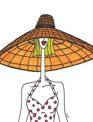 Poke Painting - Big Straw Hat by Ray Ratzlaff
