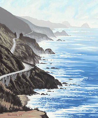 Pacific Coast Highway Painting - Big Sur by Andrew Palmer