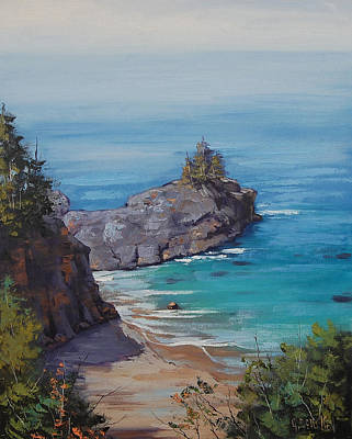 Central Coast Wall Art - Painting - Big Sur Beach by Graham Gercken