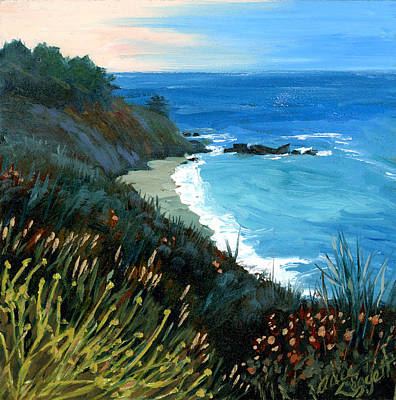 Painting - Big Sur Coastline by Alice Leggett