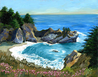 Painting - Big Sur Waterfall by Alice Leggett