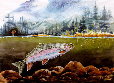 Art Print featuring the painting Big Thompson Trout by Craig T Burgwardt