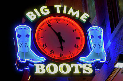 Tennessee. Country Music Photograph - Big Time Boots Neon Sign, Lower by Panoramic Images