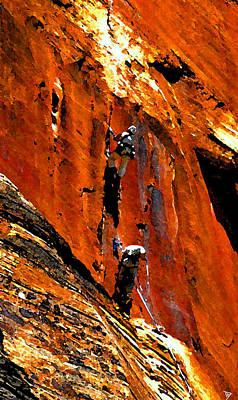Zion National Park Digital Art - Big Wall Climbing In Zion by David Lee Thompson