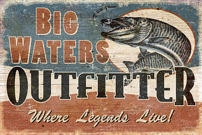 Muskies Painting - Big Waters Outfitters by JQ Licensing