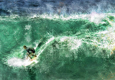 Big Wave Surfing Art Print by Elaine Plesser