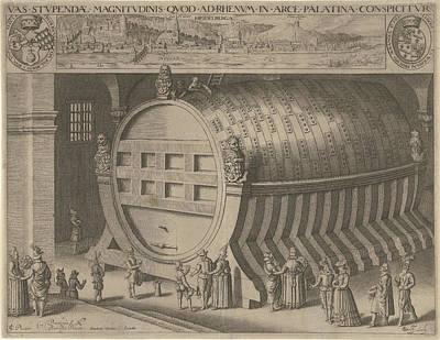 Wine Cellar Drawing - Big Wine Barrel Heidelberg by Willem Jacobsz. Delff And Hendrick Focken