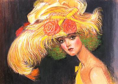 Print featuring the painting Big Yellow Fashion Hat by Sue Halstenberg