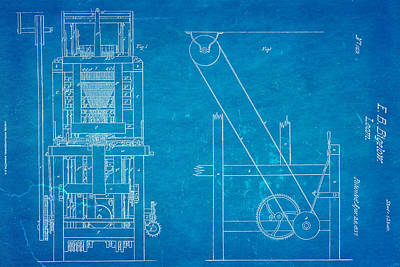 Bigelow Loom Patent Art 1837 Blueprint Art Print