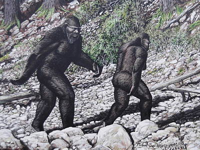Painting - Bigfoot Couple by Michael Wawrzyniec