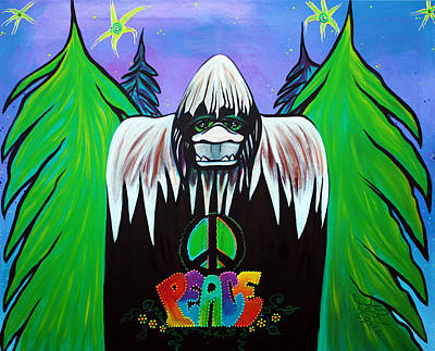 Animal Painting - Bigfoot Peace by Laura Barbosa